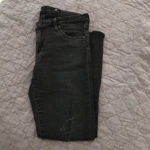 AG Black Distressed Jeans (Size 28R)